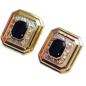 14k Gold Earrings Diamond Onyx Rectangle Studs